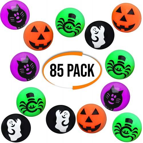 85 Palline rimbalzanti a tema Halloween, grafiche assortite