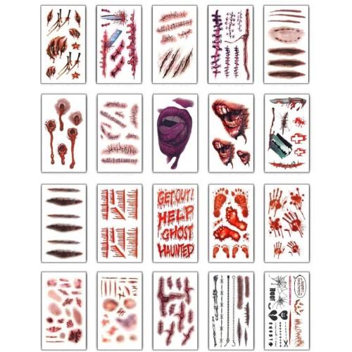 Set 20 Tatuaggi adesivi Zombie, Vampiro, Halloween