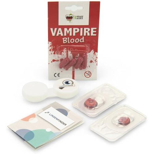"""Lenti a contatto rosse """"Volturi"""" vampiri + sangue finto"""