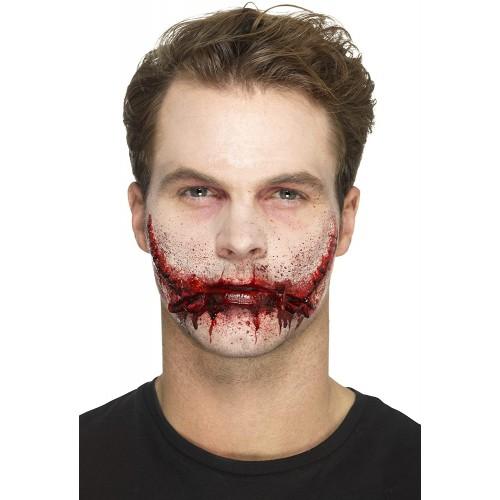 Protesi sorriso con punti di sutura, make-up Horror