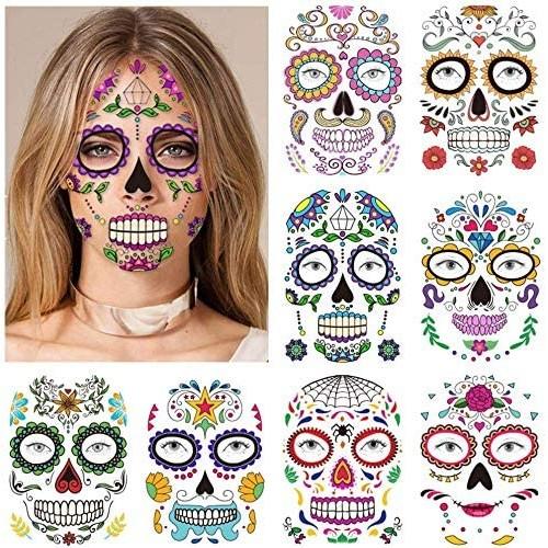 Tatuaggi viso temporanei  per Halloween, 9 fogli