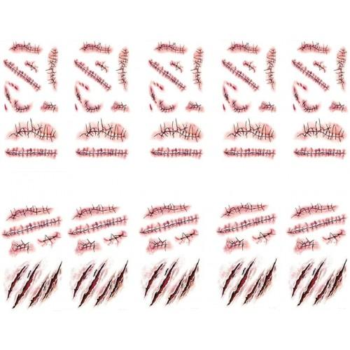 10 fogli tatuaggi temporanei scarificazioni e cicatrici, autoadesivi