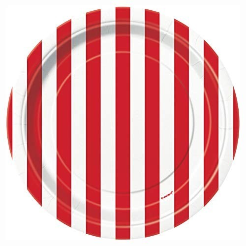 Unique Party 50300 - Tovaglia Plastificata a Strisce Rosse, 1,37 m x 2,74 m