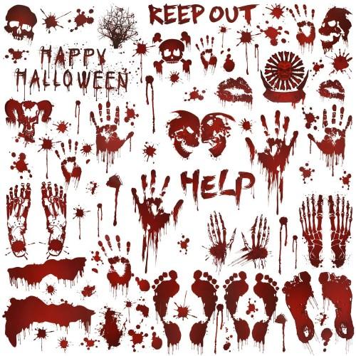 Set 80 adesivi impronte di mani insanguinate, vetrofanie Halloween