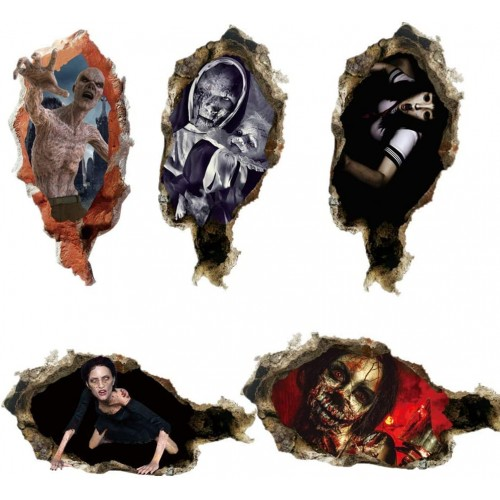 Set 5 Adesivi da parete fantasmi 3D e zombie Halloween