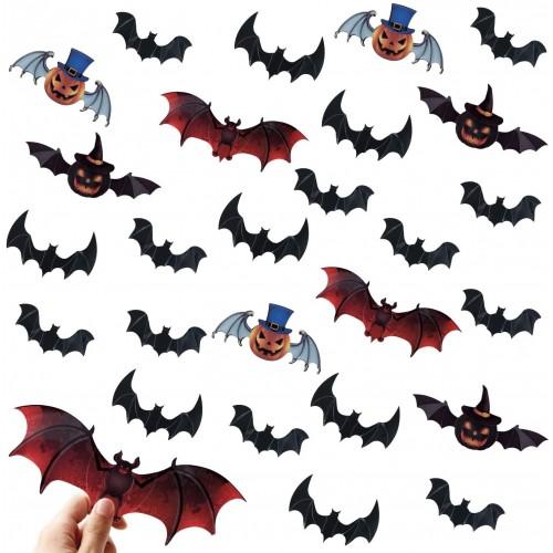 Set 120 adesivi decorativi pipistrelli di Halloween, grafiche assortite