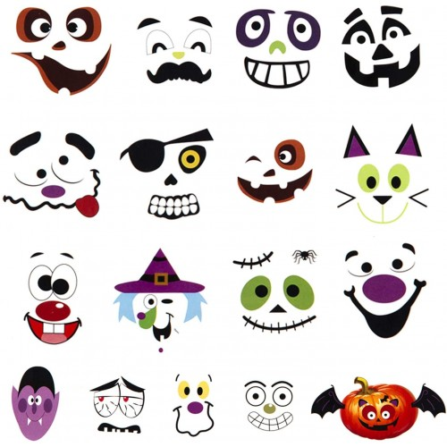 Adesivi maschere di Halloween, 12 fogli in PVC, 51 adesivi