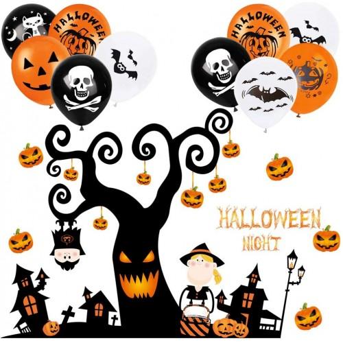 Set 2 Adesivi murali Albero di halloween, con zucche e 10 palloncini