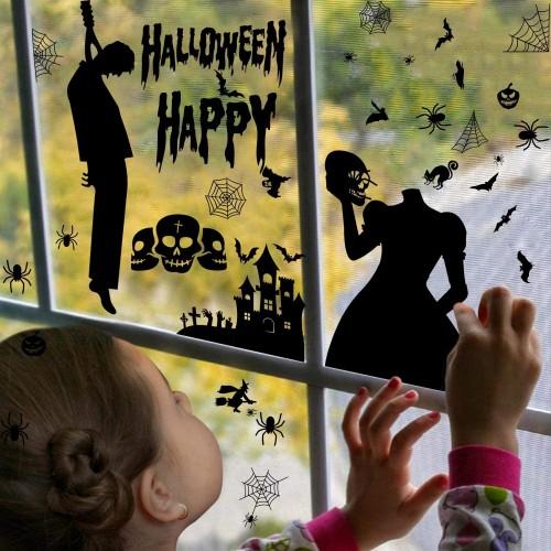 ❤ Set 9 fogli, vetrofanie Halloween, autoadesive, grafiche assortite