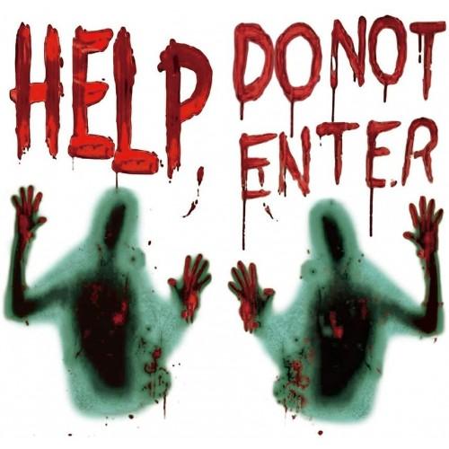 Adesivi Horror Help Do Dot Enter, vetrofanie spaventose