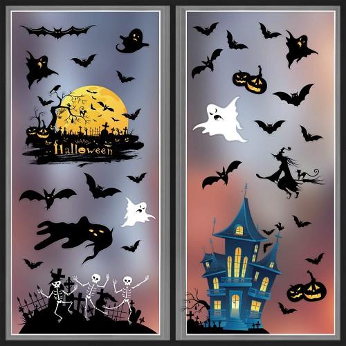 Adesivi vetrofanie di Halloween, 4 fogli, in PVC