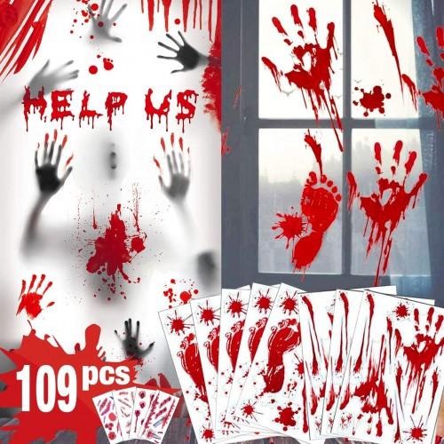 Kit da 109 vetrofanie horror con sangue