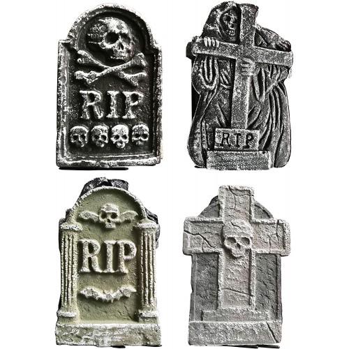 Set di 4 lapidi da 30 cm, decorazione Halloween, pietre da cimitero