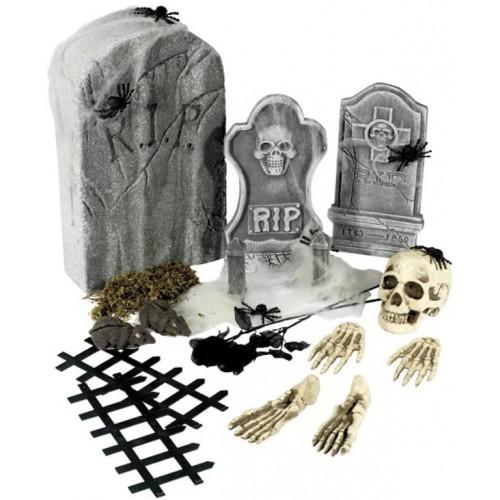 Set con 24 accessori da cimitero di Halloween, lapidi, ossa e teschi