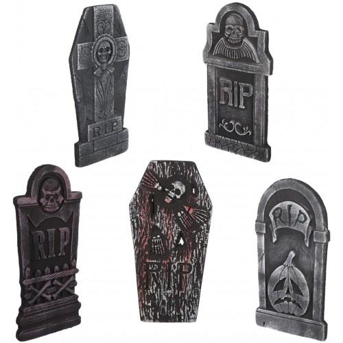 Set 5 pietre tombali, lapidi per Halloween, con paletti per fissaggio