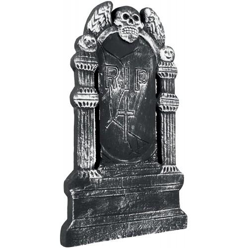 Lapide con teschio e ali, effetto pietra, decorazione Halloween