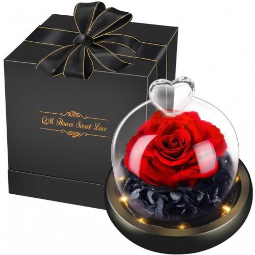 ღ Centrotavola cupola con rosa - San Valentino, idea regalo