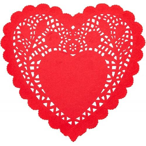 Centrini di carta a forma di cuore, 100 pezzi, colore rosso, per feste