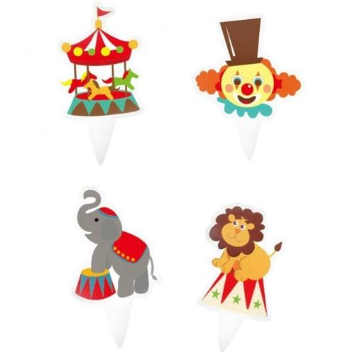 Toyandona - Decorazioni per cupcake a forma di clown circo, per feste e compleanni, 100 pezzi  motivo misto