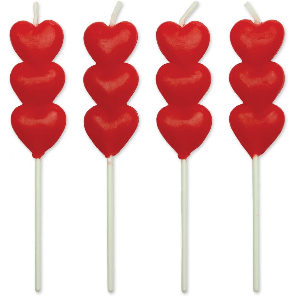 Set 8 Candele forma cuore per torte, perfette per decorazioni romantiche