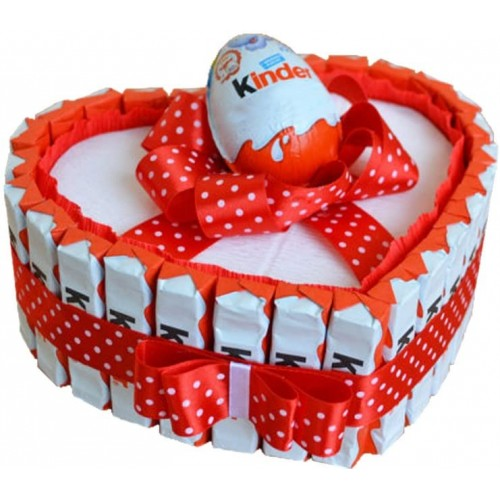 Torta barrette Kinder forma cuore - San Valentino