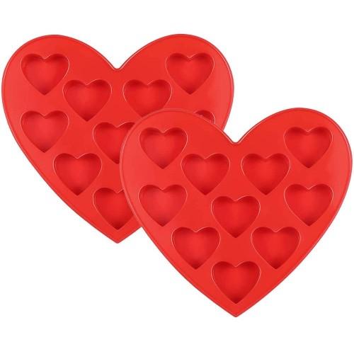 Set 2 stampini in silicone forma cuore, per cioccolatini e dolcetti