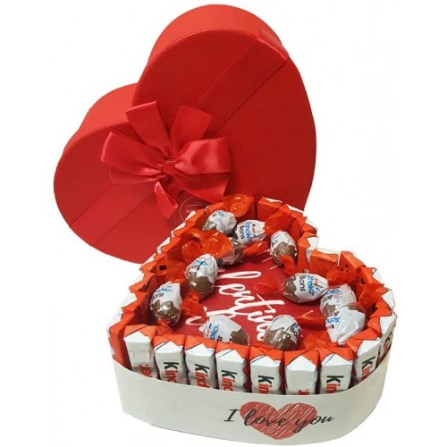 Torta con barrette Kindere cialda San Valentino, confezionata, idea regalo