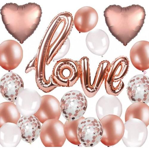 Set 20 palloncini oro rosa Love e cuori, per San Valentino