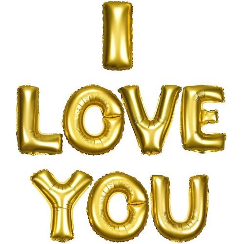 Palloncini lettere scritta I Love You colore oro, in alluminio, per San Valentino