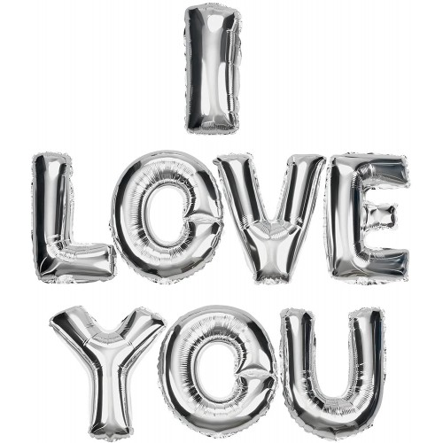 Palloncini scritta I Love You in argento, per San Valentino