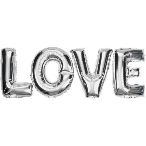 Scritta palloncini lettere, Love, argento, per San Valentino