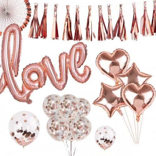 Composizione 25 palloncini oro rosa - San Valentino