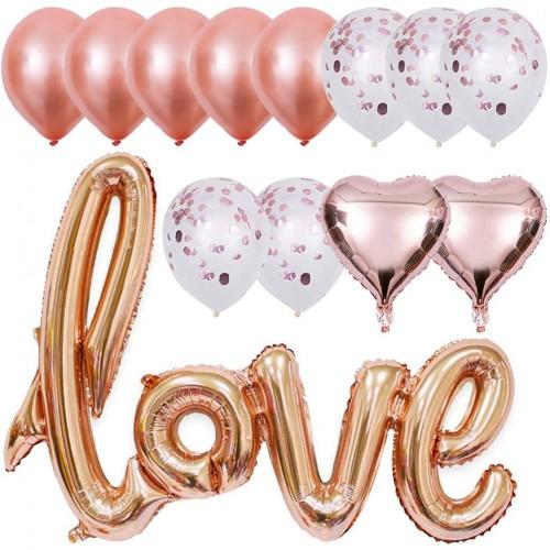 Kit 12 Palloncini rosa oro per San Valentino, in carta stagnola