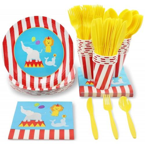 Set di stoviglie usa e getta-serve 24-include plastica coltelli, cucchiai, forchette, piatti, tovaglioli, tazze, nero, bi