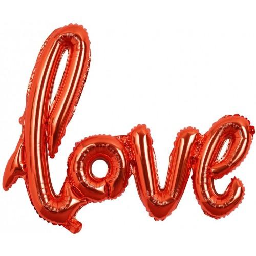Palloncino scritta LOVE colore rosso per feste romantiche, in alluminio