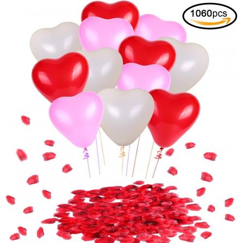 Kit 60 palloncini e 1000 petali di rosa per San Valentino