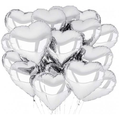 Set 30 Palloncini Cuore argento per allestimenti romantici