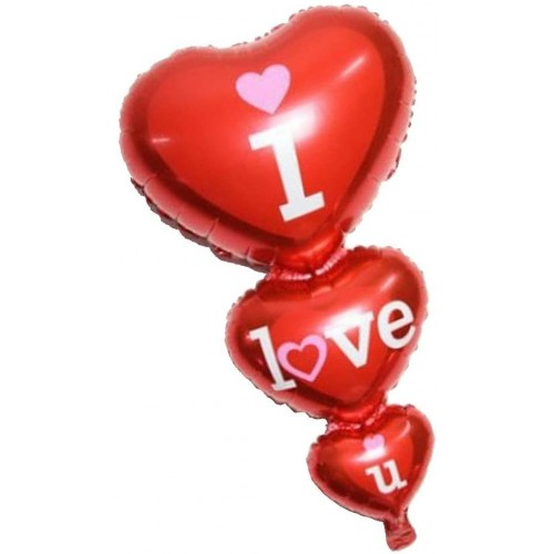 Palloncino triplo cuore I Love You, decorazione romantica