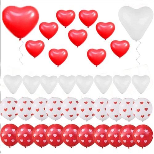 Set 40 Palloncini forma cuore bianchi e rossi, per feste romantiche
