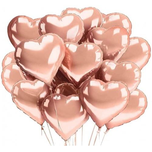 Set da 30 Palloncini rosa oro forma cuore, per feste romantiche