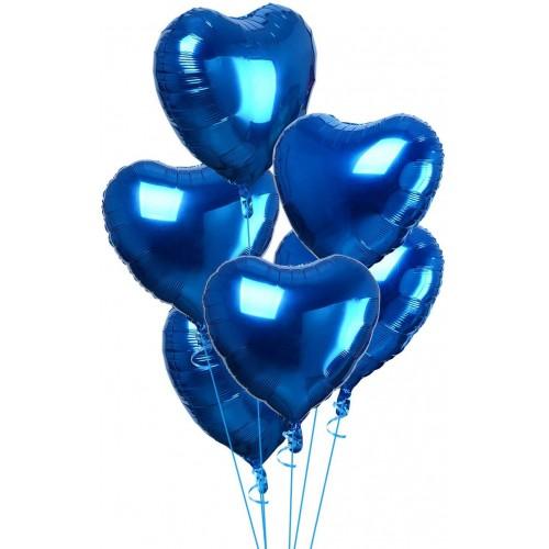 Set con 20 Palloncini foil cuore, colore blu elettrico, per feste