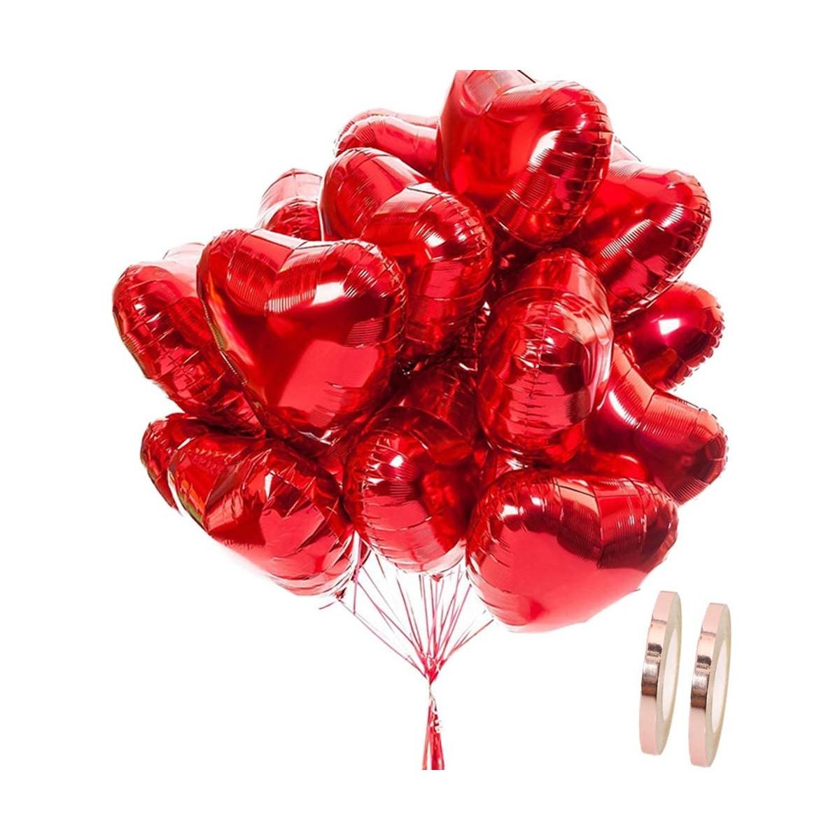 Set di 25 Palloncini forma cuore da 45 cm, per feste romantiche