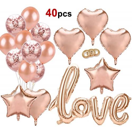 Set 40 palloncini colore oro rosa, decorazioni romantiche ed eleganti
