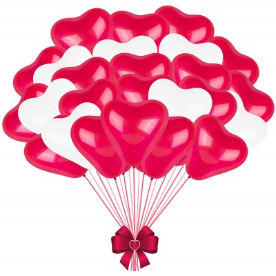 Set 60 palloncini forma cuore in lattice, rossi e bianchi