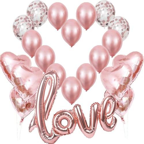 Set 21 Palloncini rosa oro per feste Chic e romantiche