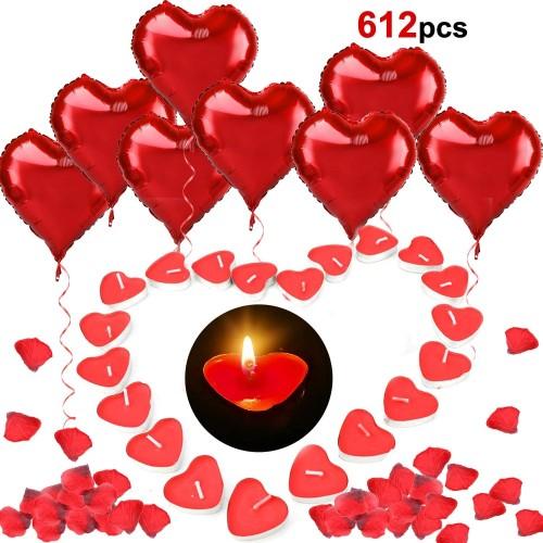 Set 12 palloncini cuore, 100 candeline e 500 petali rossi, per allestimenti