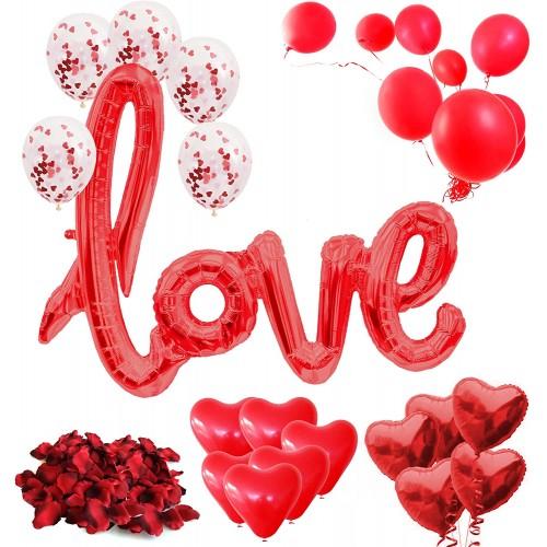 Set 31 palloncini San Valentino, 200 petali rossi per feste romantiche