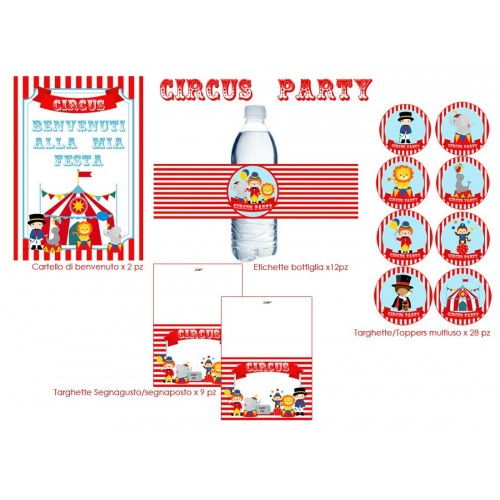Set Addobbi Adesivi Party a Tema Decorazioni Compleanno  Circus Party