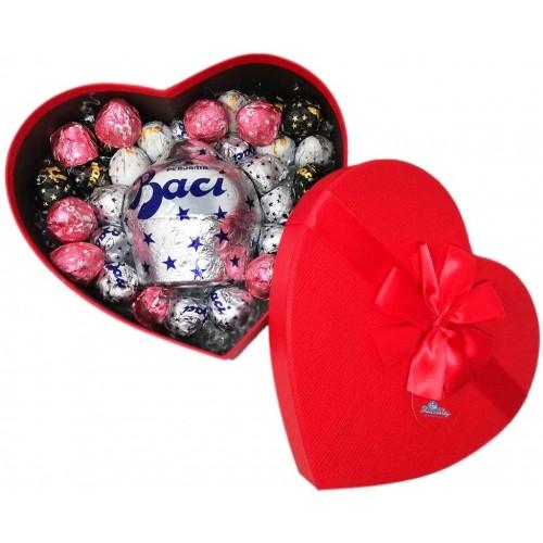 Scatola cuore con 500 gr Mix di Baci Perugina, per San Valentino