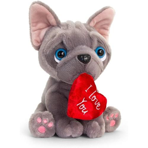 Peluche cagnolino con cuoricino per San Valentino, idea regalo